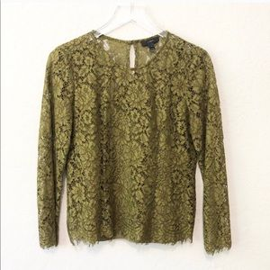 J.CREW olive green lace top